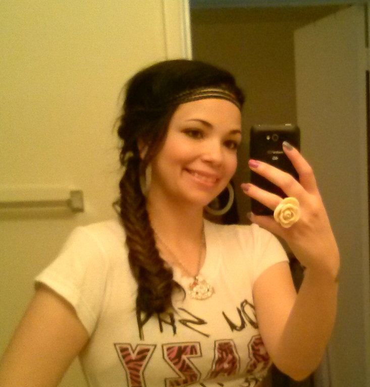 fishtail braid with extensions and a hairband! (1)