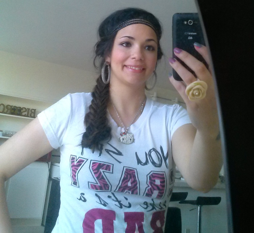 fishtail braid with extensions and a hairband! (2)