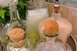bubble bath, bath salts etc Liquor bottles