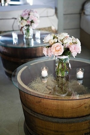 Make these simple tables out of $30 whiskey barrels.