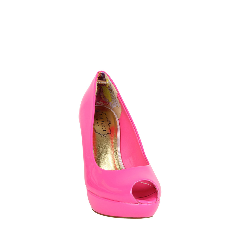Pink Patent Peep Toe Heels