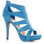 Blue Caged Zip Back Heels