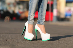 White Teal Pumps