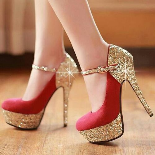Red Gold Glitter Pumps