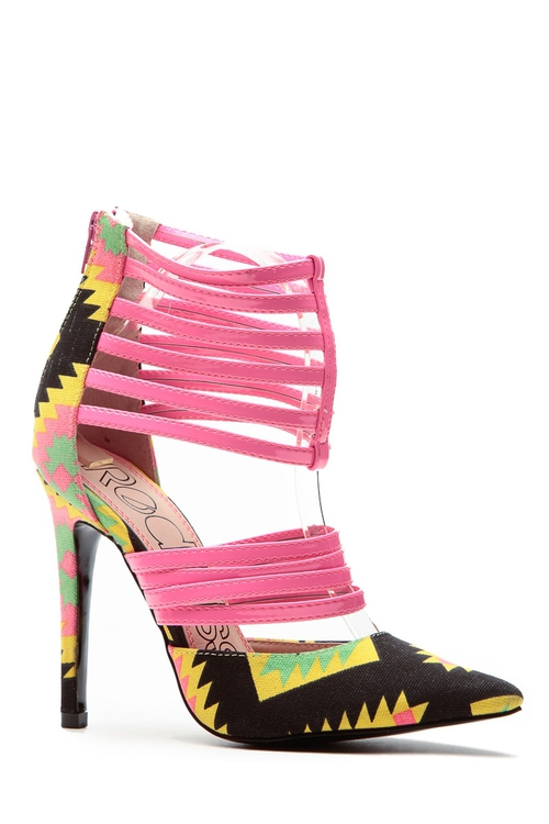Pink Yellow Tribal Heels