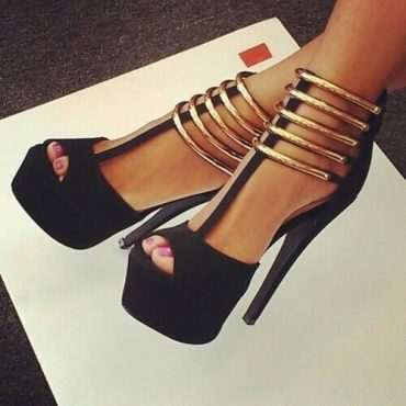 Gold Ankle Pumps